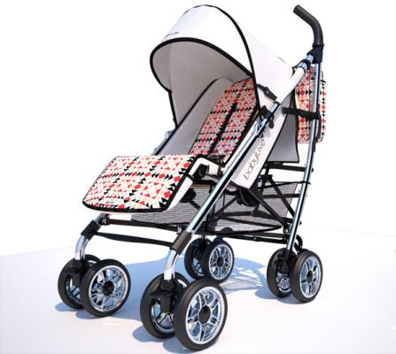 Cochecito para bebés de Ion Fiz for Babyluxe piel blanca chasis plata