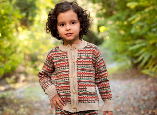 Moda infantil Perfect Days chaqueta jacquard tierra