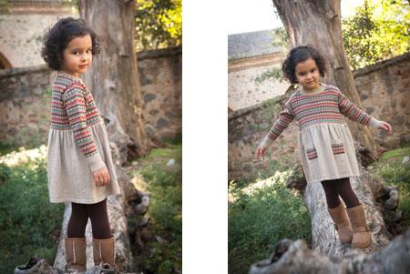 Moda infantil Perfect Days vestido jacquard tierra-Blogmodabebe
