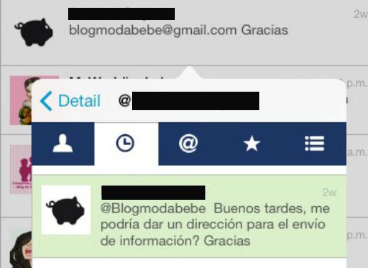 Contacto por Twitter a Blogmodabebe