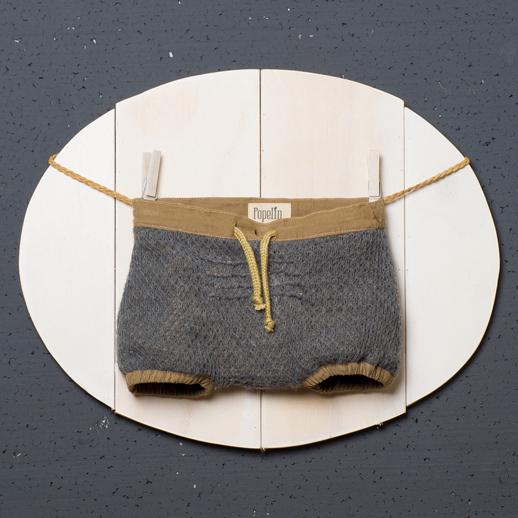 moda infantil Popelin Culotte reversible en micropana marrón y lana gris