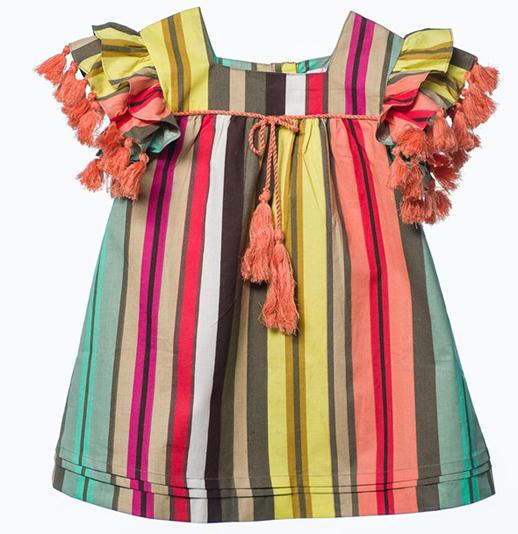 Moda infantil-vestido-borlones-multicolor- Oh Soleil