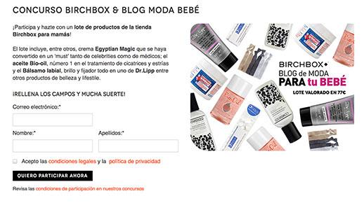 Formulario Birchbox Blogmodabebe